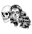 dead girl with two sugar skulls vector image