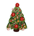 decorated christmas tree isolated cartoon vector image vector image
