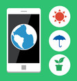 Ecology with mobile phone vector image