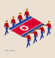 eight people hold big flag of north korea vector image vector image