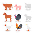 farm animals set cow pig sheep horse turkey vector image