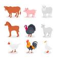 farm animals set cow pig sheep horse turkey vector image vector image