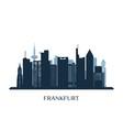 frankfurt skyline monochrome silhouette vector image vector image
