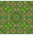 Geometric pattern with green and orange leaves vector image vector image