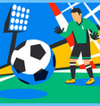 goalkeeper defends goal football player with ball vector image vector image