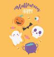 happy halloween funny pumpkin skull bat cauldron vector image vector image
