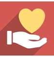 Heart Charity Hand Flat Long Shadow Square Icon vector image vector image