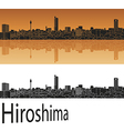 Hiroshima skyline in orange vector image vector image