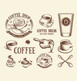 isolated brown color cup in retro style logos set vector image