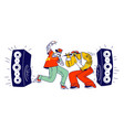 male characters singing rap music on stage with vector image