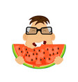 man with watermelon vector image vector image
