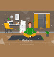 Meditation practicing on workplace flat banner