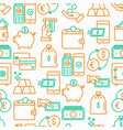 money seamless pattern with thin line icon vector image vector image