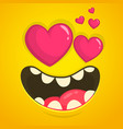 monster face in love with a heart shaped eyes vector image vector image