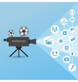 Movie projector with icons vector image