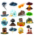 natural disasters set vector image vector image