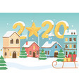new year 2020 greeting card town sled gifts snow vector image vector image