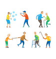 pensioners activity old man and woman set vector image vector image
