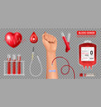 realistic blood donation set vector image vector image