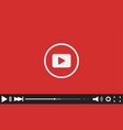 red flat video player bar template for your design vector image