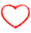 red heart contour sketch brushstroke vector image