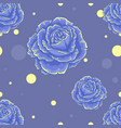 seamless blue pattern with roses vector image