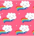 seamless pattern funny kawaii cloud on rainbow vector image vector image