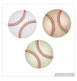 Set of Baseball Ball on White Background vector image vector image