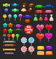 set of different sweets on black background hard vector image