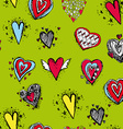 Set of funny heart with wings sketch doodle vector image vector image