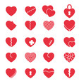 set simple icons hearts for valentines day vector image