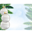 Silver Christmas decorations and pine branches vector image
