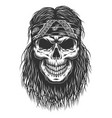 skull with hair vector image vector image