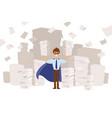 superhero in long cloak and mask business vector image