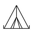 tent line icon camping icon vector image