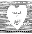 Thank you white heart on ethnic background card vector image vector image