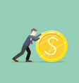 time for invest man with gold coin vector image vector image