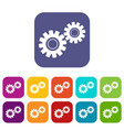 two gears icons set flat vector image vector image