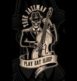 vintage skull musician with double bass vector image vector image