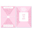 wedding invitation card with pink edelweiss vector image