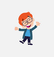 white boy with glasses exulting in happiness vector image