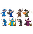 witch and wizard with magic wand vector image