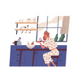 young woman sitting in kitchen and surfing vector image vector image