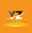 yz y z letter modern logo design with yellow vector image vector image