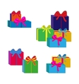 Set of different colorful wrapped gift boxes Flat vector image