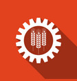 industrial and agricultural icon wheat and gear vector image