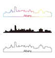 Albany skyline linear style with rainbow vector image vector image