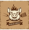 Bar and grill Pig head with kitchen tools on vector image vector image