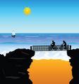 beach cyclists vector image vector image