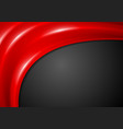 black corporate background with smooth red waves vector image vector image
